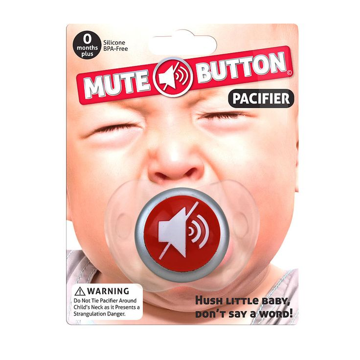 Mute Button Pacifier: We-Care.com will donate a portion of every purchase through this link to charity!