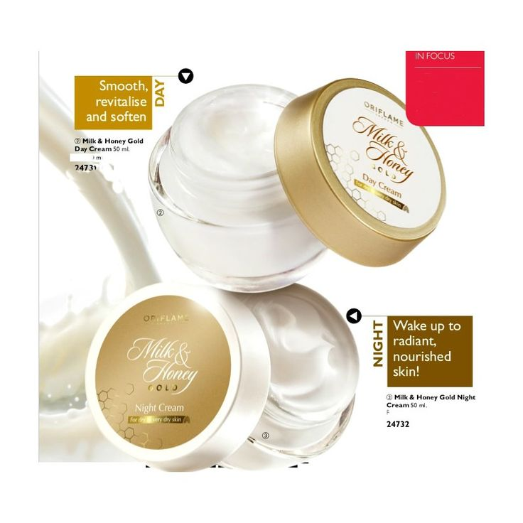 Oriflame Milk & Honey Gold Day Cream - A day cream that visibly nourishes dry skin. Milk and Honey Extracts help revitalise and soften, leaving skin replenished and radiant with a smooth finish. Absorbs quickly and stays with you all day*, providing continuous hydration
