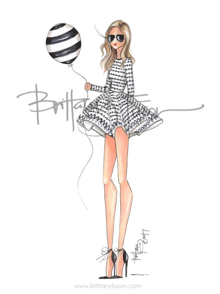 Maje | black & white | happy birthday | blogger style | party dress | fashion illustration | Brittany Fuson