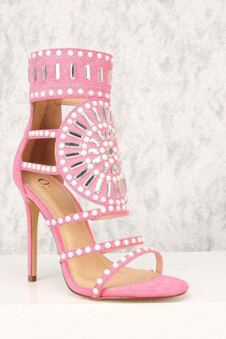 Sexy Hot Pink Gemstone Pattern Open Toe Single Sole High Heels Faux Suede