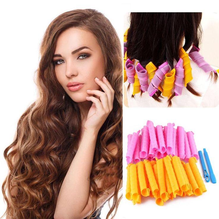 24 pcs orange merah muda pengeriting rambut tebal dasar DIY Hair curler curling iron Styling alat keriting yang indah 100% BRAND NEW