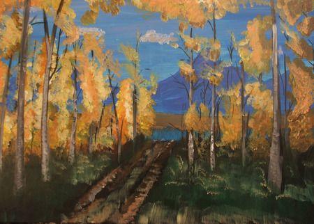 Őszi táj akril,vászon 50x70 cm