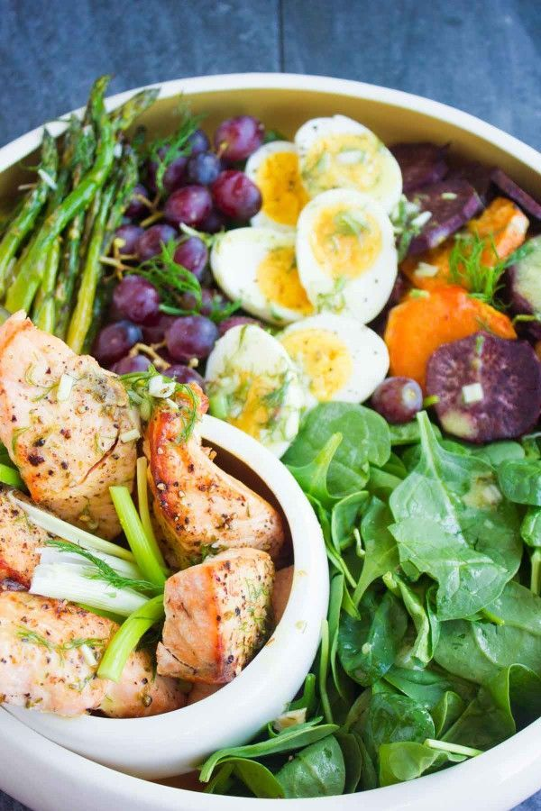 Salmon Asparagus Sweet Potato Nicoise