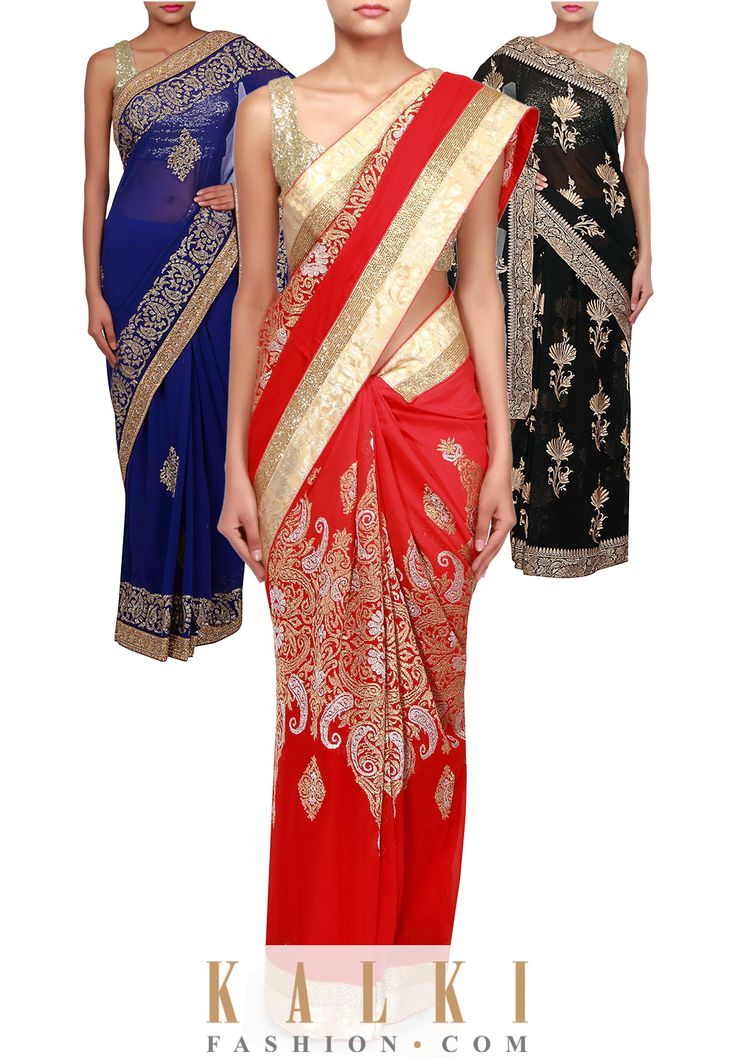 Take your pick from our collection of absolutely stunning gorgette sarees.Buy Online from the link below. We ship worldwide (Free Shipping over US$100). To buy this product, click on the following link - http://www.kalkifashion.com/sarees/georgette-sarees.html. Royal blue saree-SKU: 264459, Red saree-SKU: 262273, Black saree-SKU: 254477.