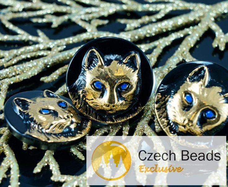 22.5mm Czech Glass Button / Cat