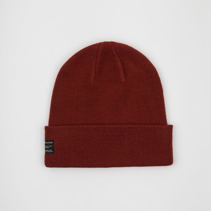 RVLT - men's fashion. Red acrylic beanie knit.