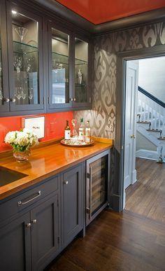 Image result for kitchen with orange walls grey tiles