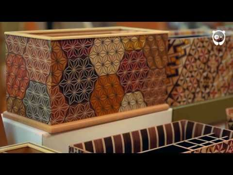 The Japanese yosegi art of gluing colored wood and cutting it into thin sheets for decoration - YouTube