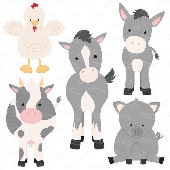 Premium Grey Farm Animals Clip Art Vectors Grey Farm Animals Clipart Farm Animal Vectors Barn Minimalist Animal Wolverine Animal Animal Clipart