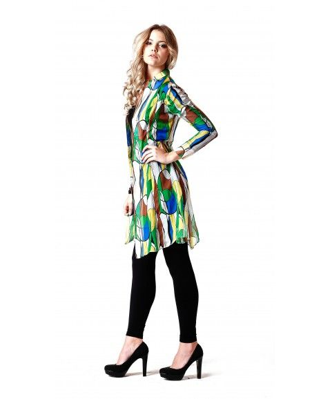 SISS ON BARE STYLE SILK DRESS - GREEN    ·     Designed in Perth, Western Australia  ·     Silk chiffon blend  ·     green print design  ·     Long sleeve, non-stretch fabric button front.  ·     Easy relaxed fit and feminine.  ·     Model wears size 8