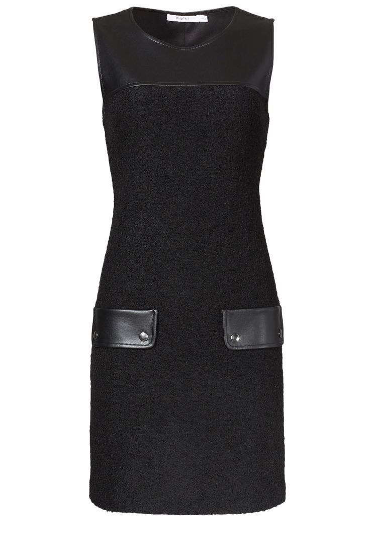 Conservative cut, modern length, edgy leather details. Perfect! Bailey 44 Mia Dress