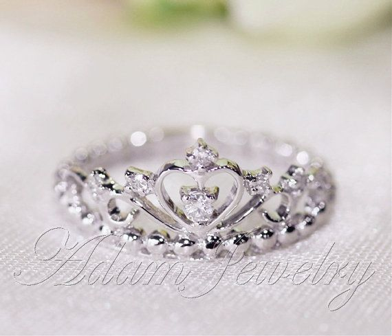 Fancy Crown Ring 14k White Gold & Diamonds Wedding by AdamJewelry, $445.00