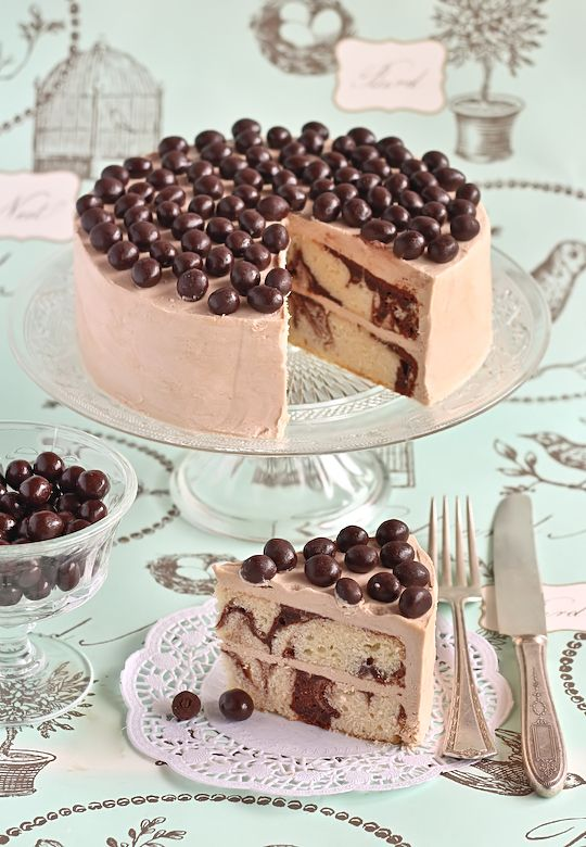 Mocha Marble Cake with Choc Coffee Beans