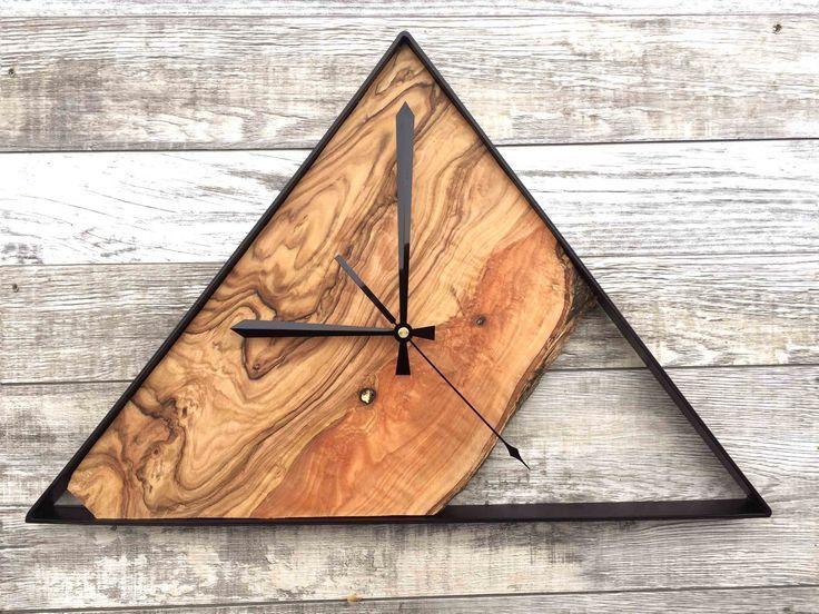 Holz Wanduhr Uhren Fur Wand Grosse Wanduhr Live Edge Olivenholz