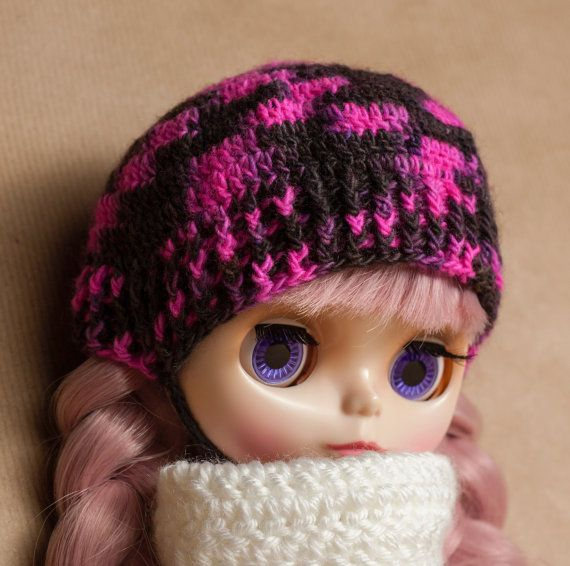 Blythe doll clothes, hat, hand dyed yarn, beanie, blythe beanie, blythe clothes, handmade, crochet clothes, blythe doll size, crochet hat