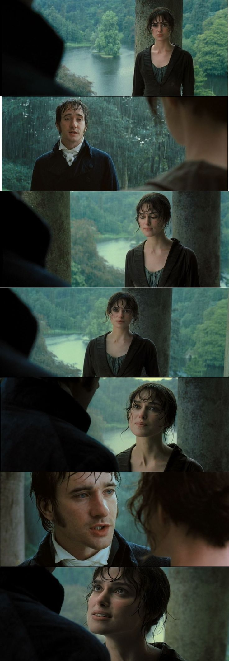 Pride and Prejudice 2005 Mr. Darcy declares his love for Elizabeth Bennett, going against his prejudice toward the inferiority of her birth and connections. He just can't control his impulses any longer. This scene will appear in chapter 34 of the novel albeit without the rain, and it takes place in Mrs. Collins' cottage. This setting, however, with the rain in the background makes the scene more romantic and more poetic. The copious rain effectively symbolizes the mood of the characters.