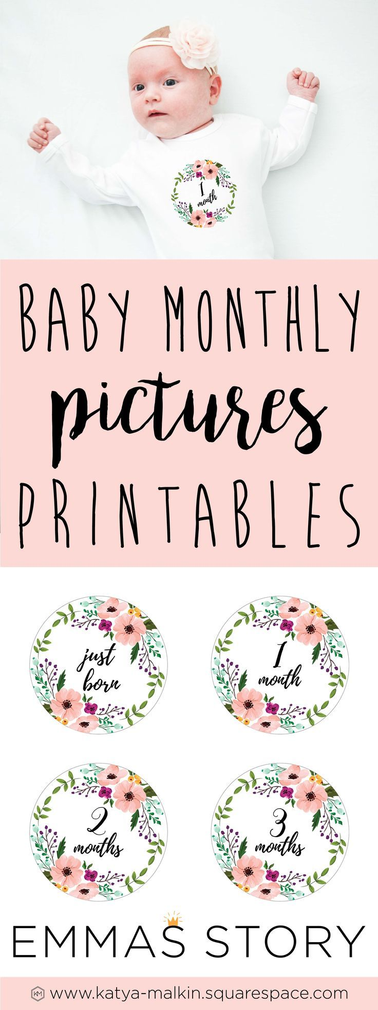 Baby Monthly Pictures | Baby Photos | Newborn Photography | baby photo props | photography tips | month by month | printables |   birthday stickers