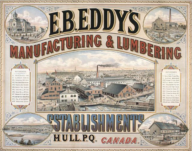 an advertisement for E.B. Eddy's Manufacturing & Lumbering Establishment, Hull, Quebec, ca. 1884.