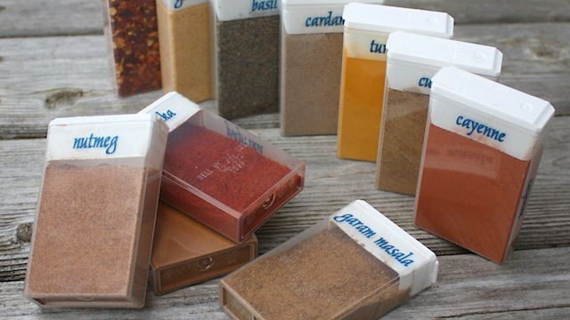 Labeled tic-tac containers for spices - great for travel