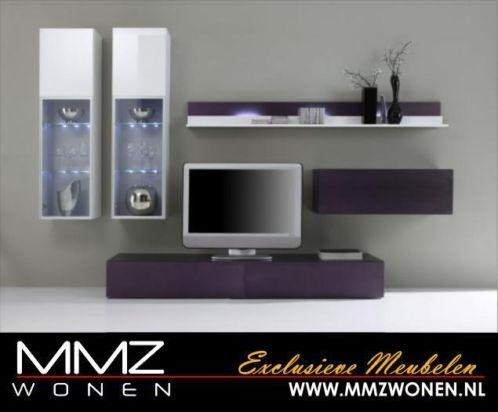 Moderne Tv Meubilair Hangkast met Led Verlichting Wit Paars