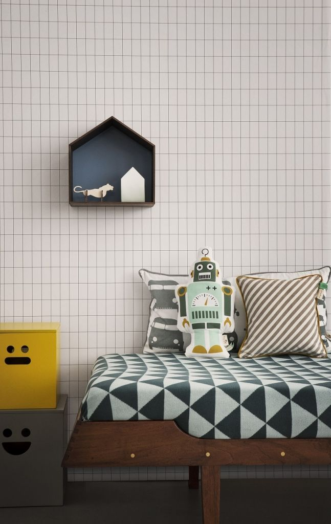 FERM Living Behang Grid Zwart-Wit | Klevering