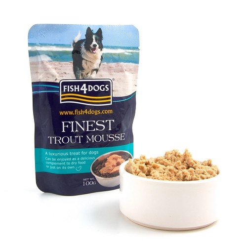 Finest Trout Mousse 4 Dogs This natural luxury gourmet wet treat is made from Trout and Seaweed Extract.   The trout is gently steam cooked then whipped giving it an airy texture.   Fish4Dogs Trout Mousse can be given on its own or mixed in with dry food as a delicious tempting treat.