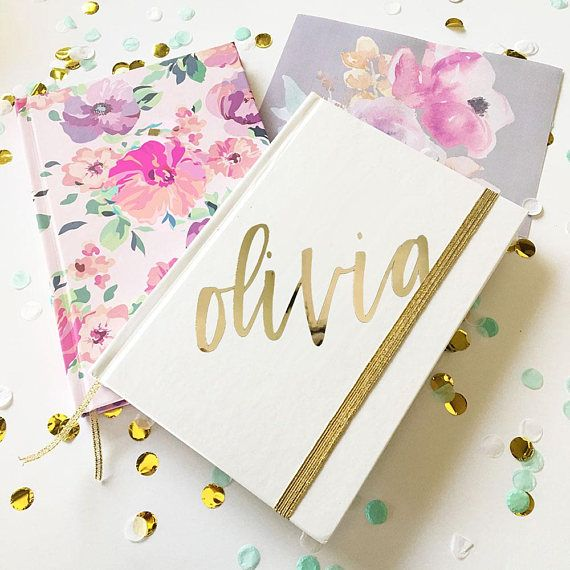 Customized Journal Notebook | Personalized Journal | Gold Gifts Personalized | Journal Gifts for Bridesmaid Bride Coworker Gift by SipHipHooray