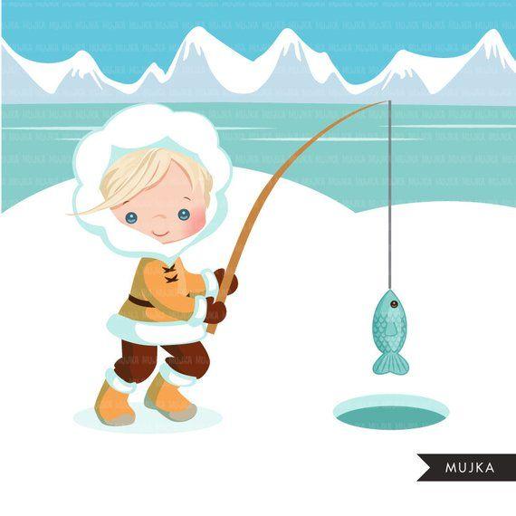 Arctic eskimo clipart. Cute winter background, fishing ...
