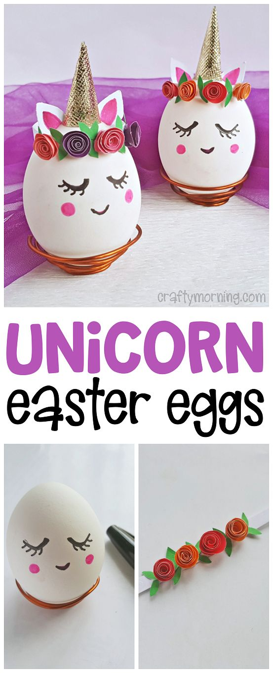 Unicorn Easter Eggs - so cute for the kids to decorate! Fun easter egg decorating idea for unicorn lovers and girls! Easy painting idea