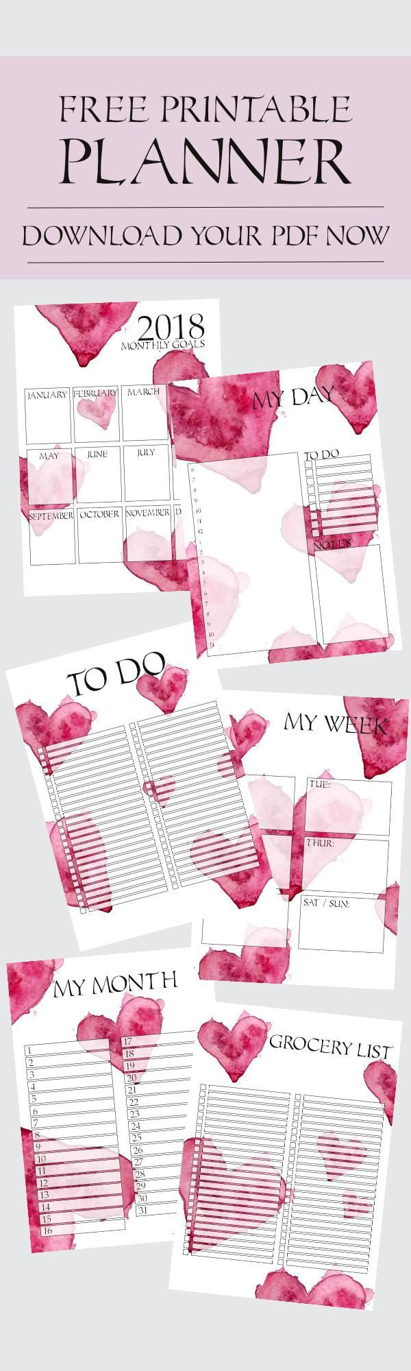 Free Printable Planner, 2018. Download your pdf now. Print at home. Aquarelle Heart design.