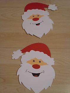Fensterbild - Kette Deko Tonkarton basteln Winter Weihnachtsmann Gesicht rot