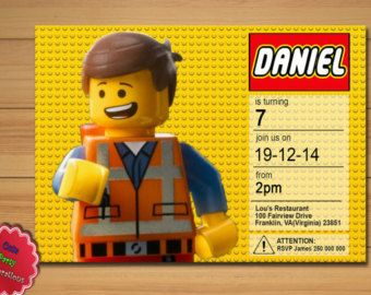 Lego Invitation, Lego Birthday, Lego Party, Lego, Lego Movie, Emmet, Printable