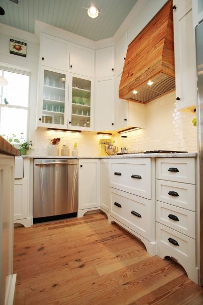 Custom Reclaimed Wood Hood Range With Lights Found On Cultivate   I Love  The Lighting And