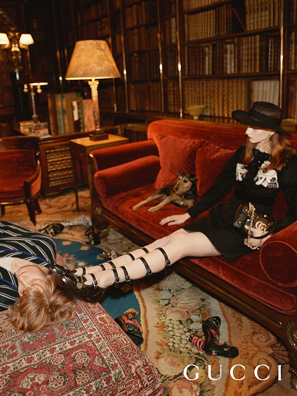 Inside Chatsworth House for the Gucci Cruise 17 campaign with Queercore, the new multi-strap pump.