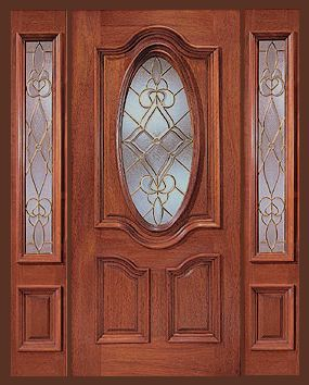 Cheap Entry Doors With Side Lights   Entry Prehung Oval Glass Single Wood  Door With 2