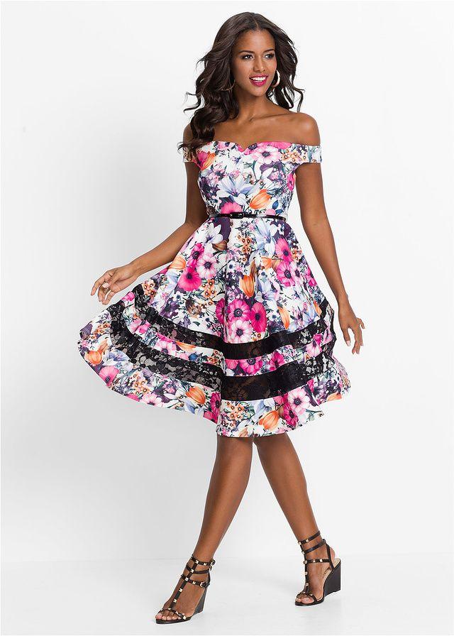 Sukienka w kwiaty Sukienka zdobiona • 129.99 zł • bonprix