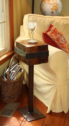 side table -- barn beam and recycled metal pipe