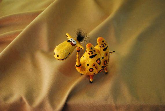 Camel figurine, paper mache statuette, animal sculpture, art object, camel art
