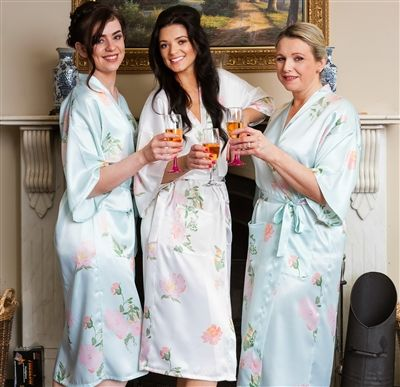 Set of 3 Personalised Floral Bridal Robes! Perfect for photos of the morning of your wedding. Choice of colours and patterns available from WowWee.ie