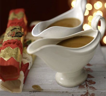 Gravy for the Christmas turkey. This simple recipe uses white wine for a pale, light gravy, but it can also be made with red wine or Port for a richer flavour.