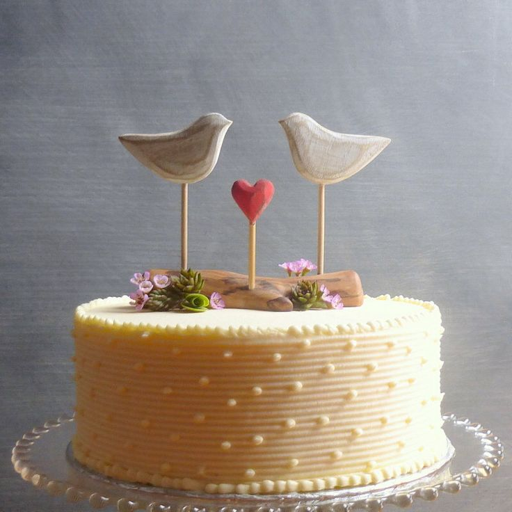 Rustic Wedding Cake Topper, Beach Cake Topper, Beach Wedding Decor, Love Birds Cake Topper, Wooden by WoodenHeartButtons on Etsy https://www.etsy.com/listing/208708862/rustic-wedding-cake-topper-beach-cake