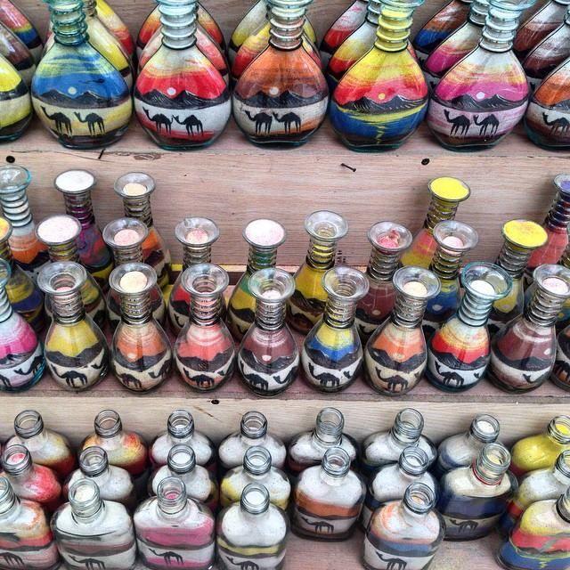 #Petra magic sand in coloured paint bottles. #Jordan #GrabYourDream #TravelAdventurer