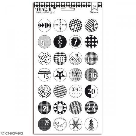 Pegatinas Toga Bolas de Navidad - Blanco y Negro  - 2 láminas de 28 pcs - Fotografía n°1