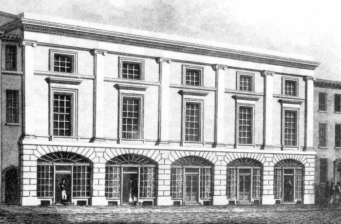 Leeds Library - Leeds Library was founded in 1768. It moved to this building on Commercial Street in 1808. After 1824 the Leeds Intelligencer was published from  this isite when the paper rented rooms. In 2016 the Thoresby Society moved its library and archive here.
