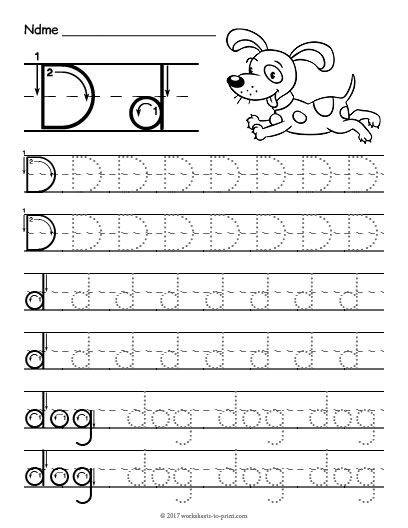 Free Printable Tracing Letter D Worksheet Pre K Emet