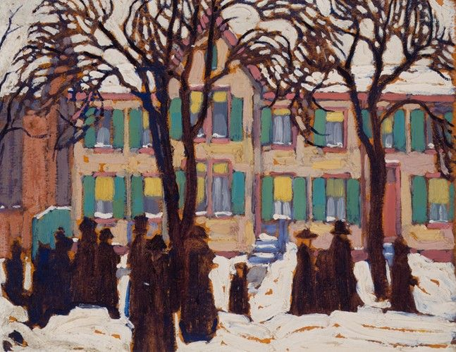 Lawren Harris - Return from Church 10.5 x 13.75 Oil on Beaverboard (1919)