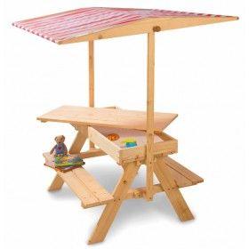 Picknicktafel met luifel zandbak - Buitenspeelgoed