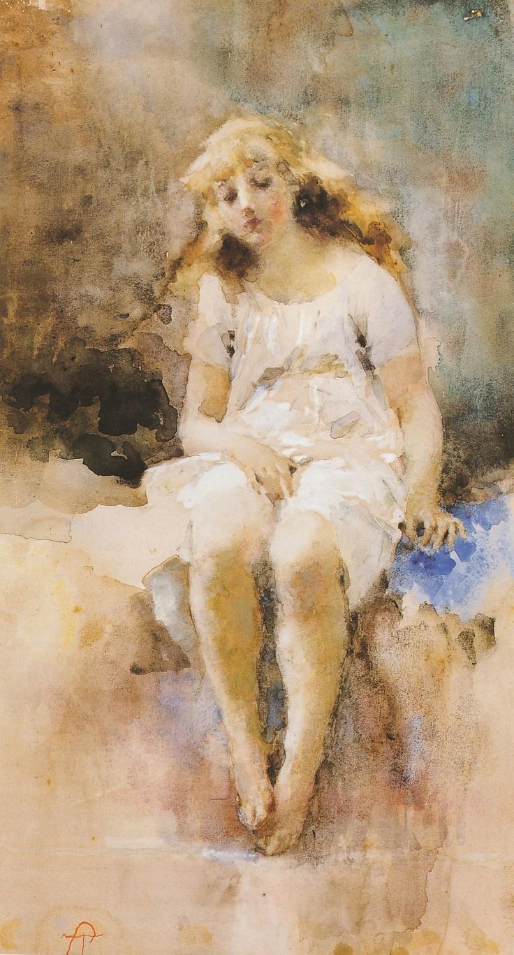 """Tranquillo Cremona (1837-1878)  """"Fanciulla in camicia (sera)"""" 1877-1878"""