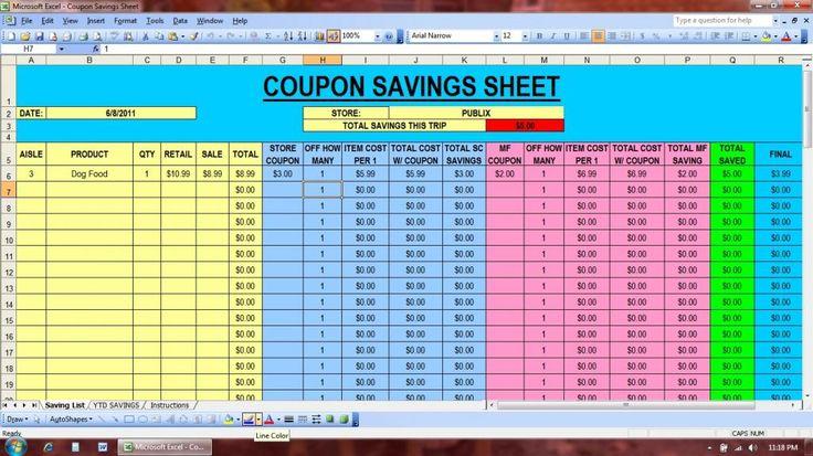 coupon savings spreadsheet  great idea