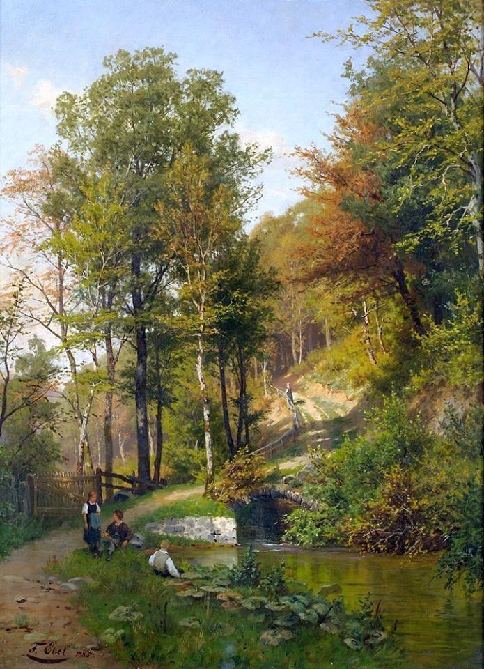 Fritz Ebel (1835-1895) Children at the forest pond, 1885 Olio su tela, 96 x 70 cm